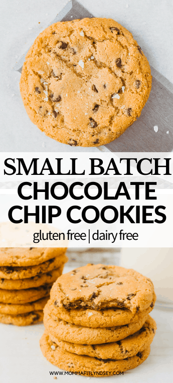 chewy small batch chocolate chip cookies that are easy and quick to make! Healthy gluten free and dairy free chocolate chip cookies recipe for soft gooey chocolate chip cookies! Small Batch Chocolate Chip Cookies are the perfect cure for your chocolate chip cookie cravings! Gluten free, dairy free Nestle Tollhouse Chocolate Chip Copycat cookies made in a half batch!