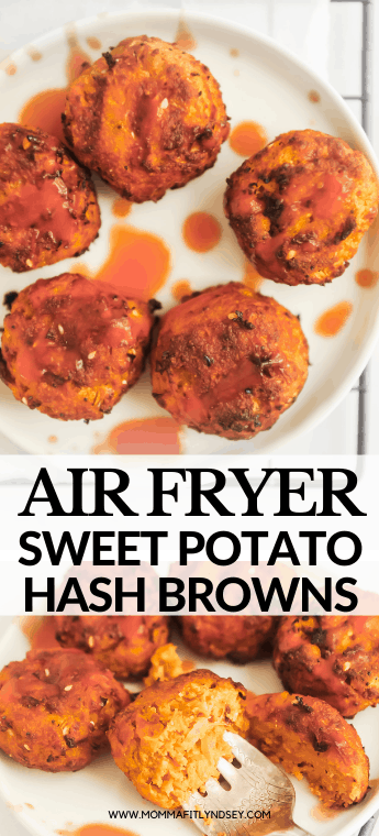 Air Fryer Hash Brown Patties made crispy and with 5 ingredients! Sweet potato hash browns that are easy to make and whole30 compliant!