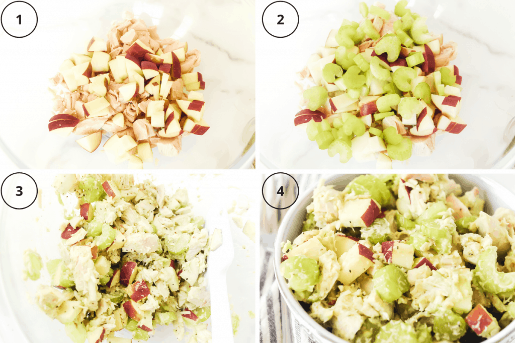 steps for making whole30 chicken salad with avocado