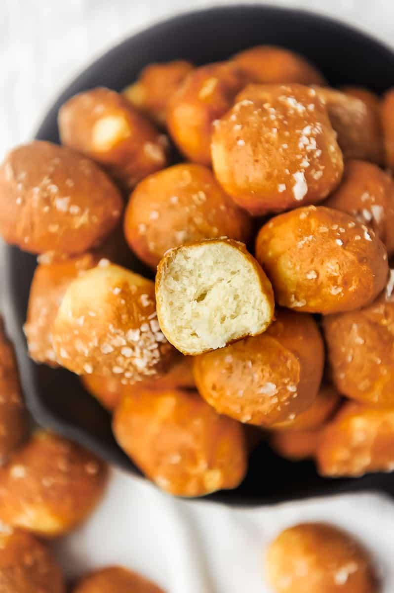 pretzel bites in a small pan