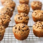 chocolate chip muffins on a cooling rack