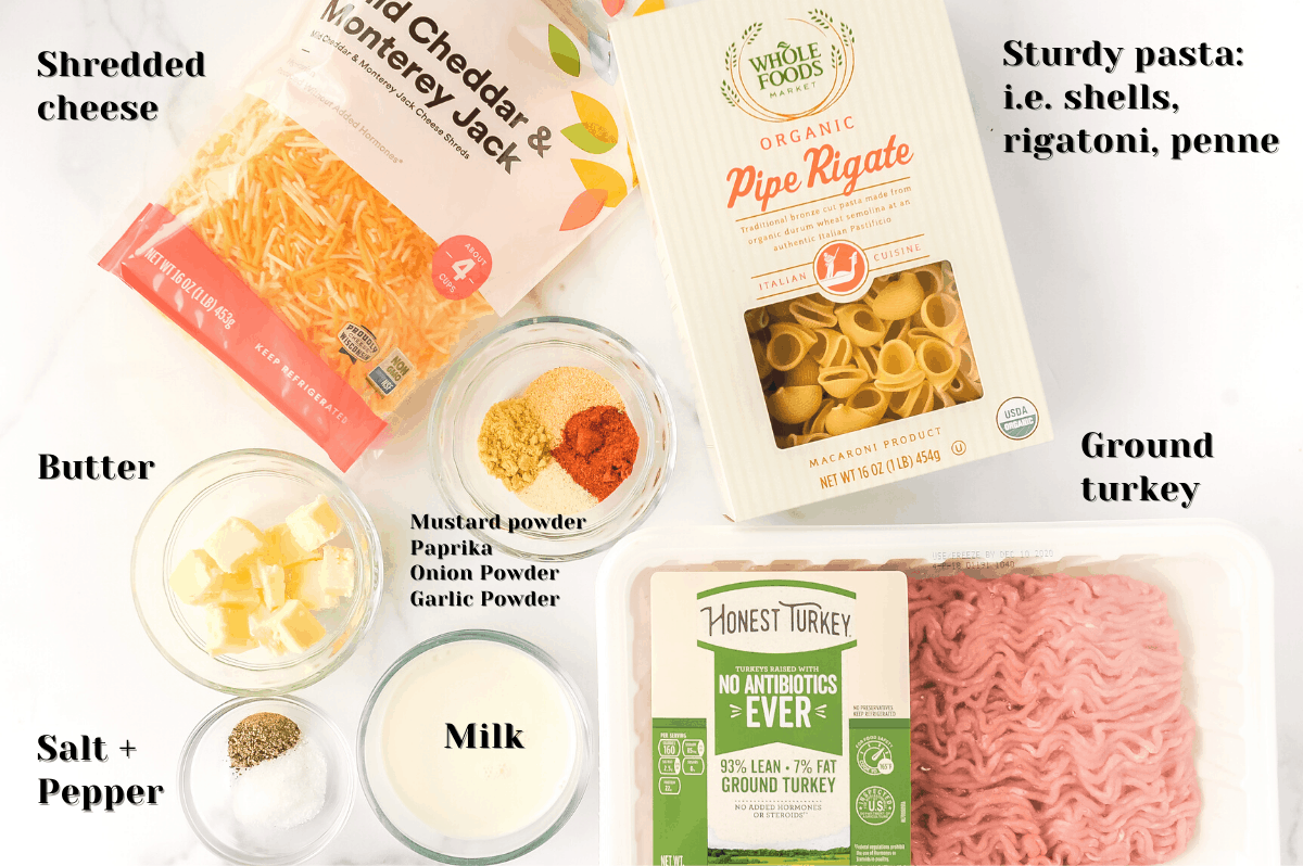 ingredients to make healthy cheeseburger macaroni in the instant pot