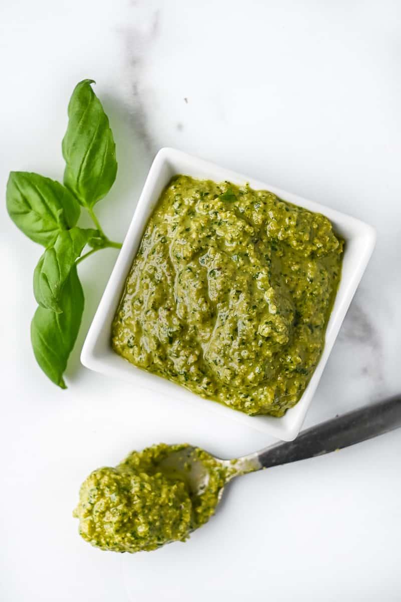dish of vegan basil pasta
