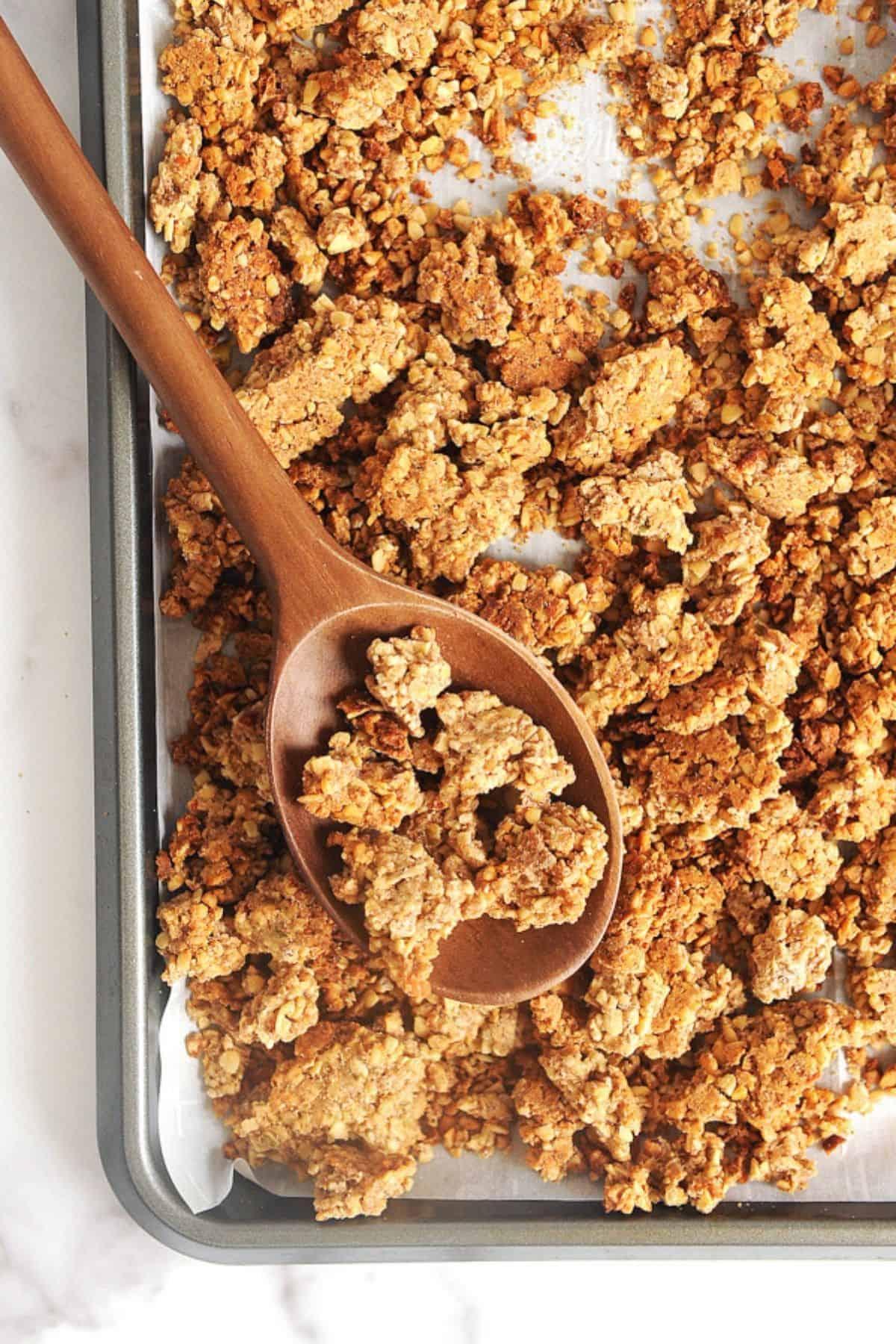 gluten free granola on a sheet pan