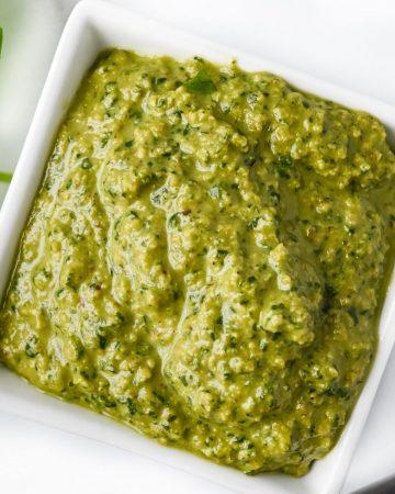 bowl of vegan pesto without pine nuts