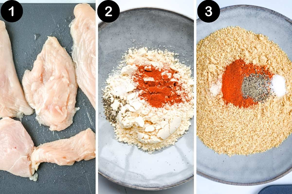 steps for air frying chicken breast cutlets