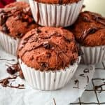 strawberry yogurt muffin with chocolate chips and nutella drizzle
