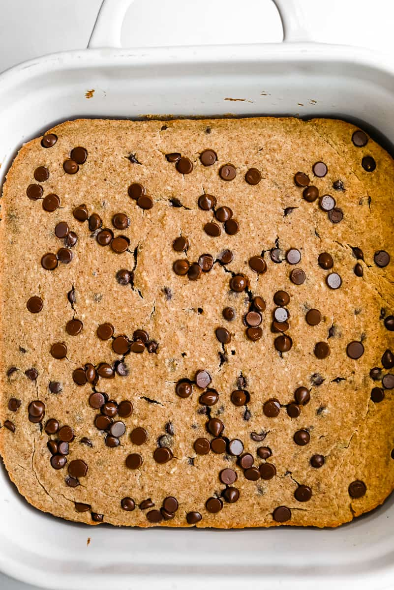 baked protein oatmeal in a dish