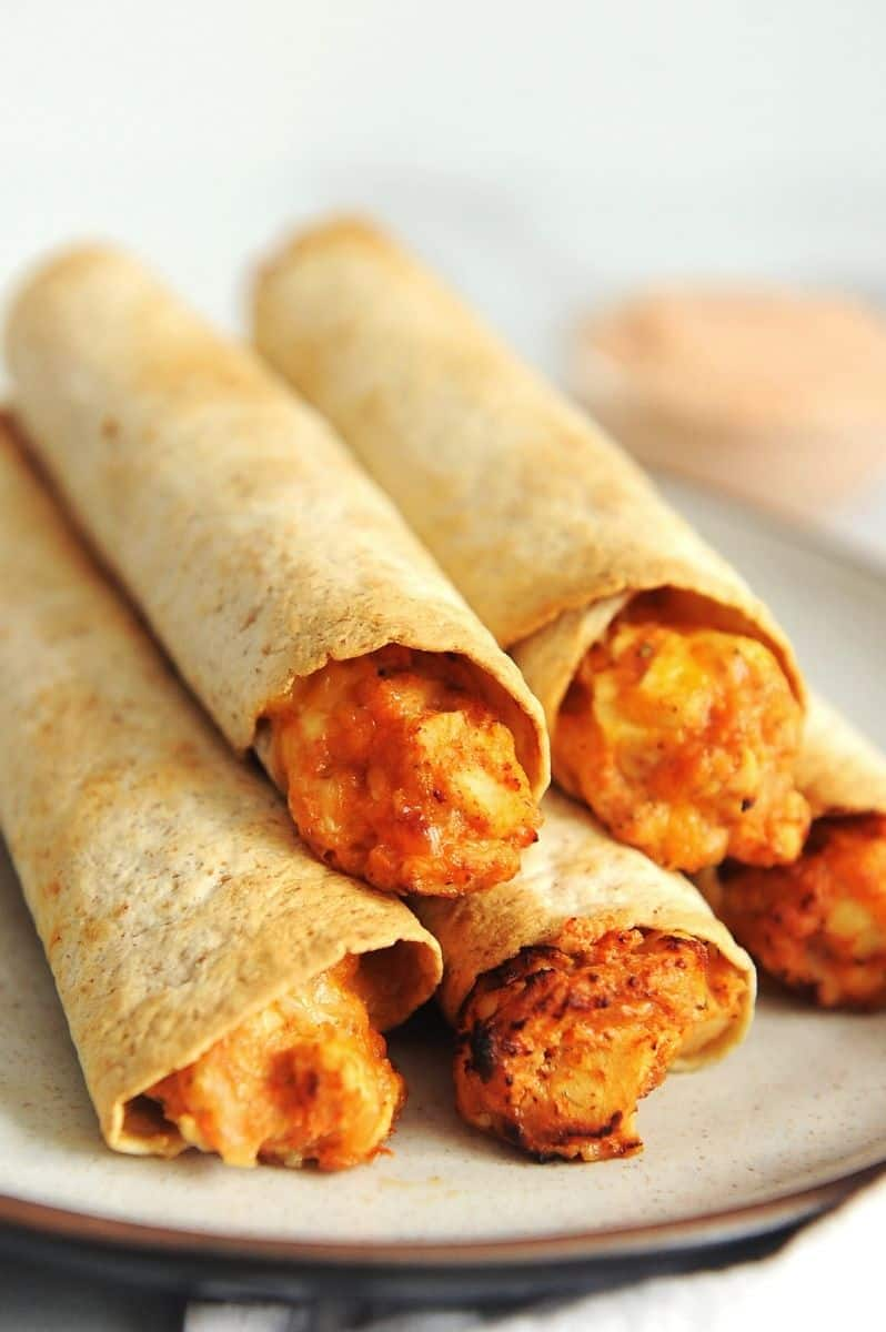 plate of healthy air fryer taquitos
