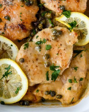 pan of gluten free chicken piccata