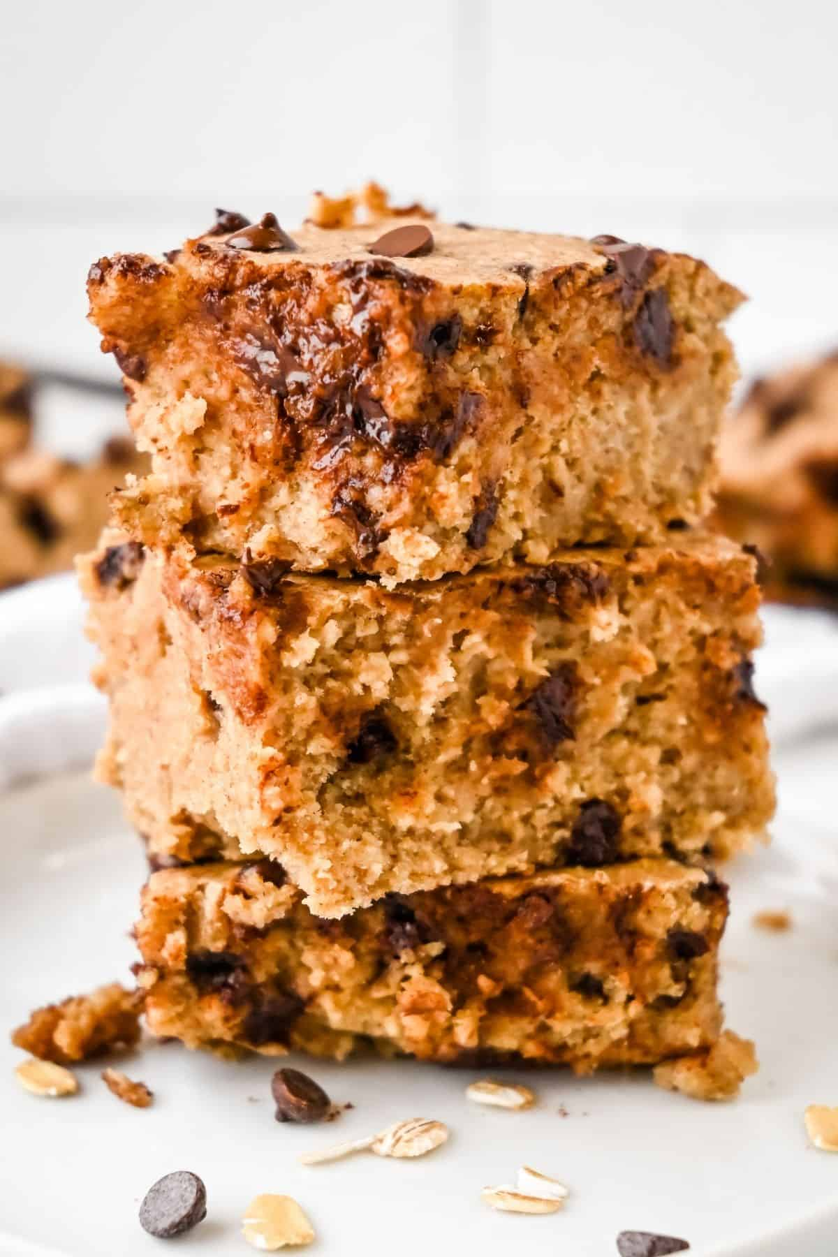 stack of baked protein oats