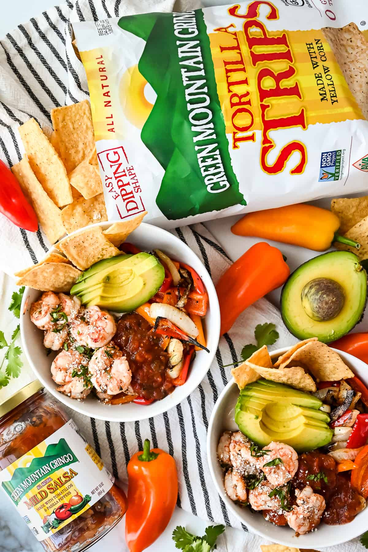 grilled shrimp fajita bowls with green mountain gringo salsa and tortilla strips