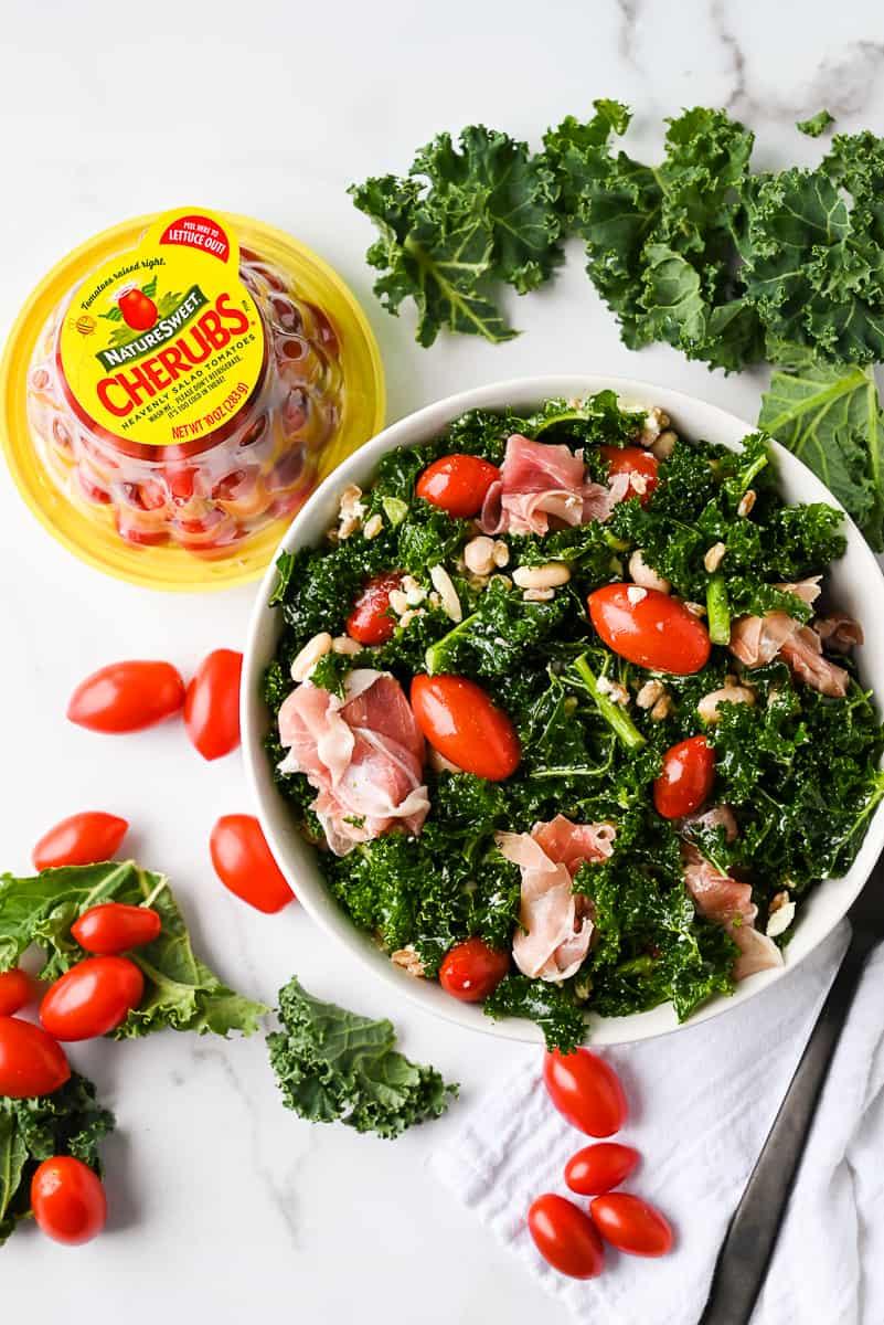 white bean kale salad with prosciutto