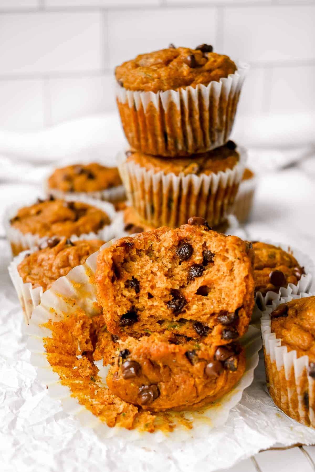 inside of moist pumpkin zucchini muffin with chocolate chips